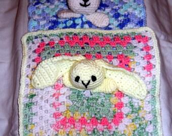 Bear or Rabbit blanket, security blanket, lovey, blanket doll, crochet