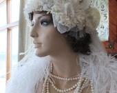 Wedding headpeice flapper 1920s bridal cloche veil hat tiara wedding accessories flapper wedding dress