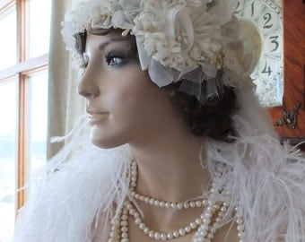 Wedding headpeice flapper 1920s bridal cloche veil hat tiara wedding accessories flapper wedding dress
