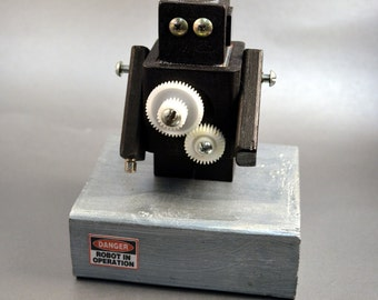 Robot Desk Art, geek gift, steampunk gear sculpture office accessory science fiction