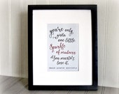 Art Print Sparkle of Madness Quote From Dead Poets Society Robin Williams Quote Typography Art Print