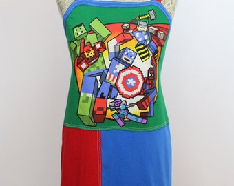 Avengers Assemble! Upcycled Cotton Dress, size 0-2