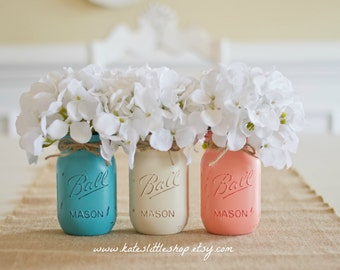 Painted Mason Jars. Vase. Vintage looking Painted Mason Jars. Set of 3 Pint Size mason jars. cream. peach. coral. teal. wedding decor. home.