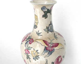 Vase- Chinese Style- Hand Painted Porcelain- Famille Rose- Butterfly- 1800 - 1900s- Urban Chic Decor- Asian- Collectibles