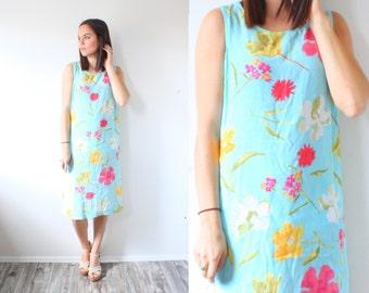Vintage retro floral dress // pocket dress // mini midi dress // 80's mini dress // Small // light blue // summer spring dress shift dress