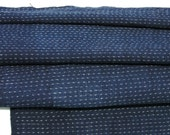 Hand Loomed Antique Cotton. Japanese Kasuri Kagasuri Ikat. Dark Indigo Blue Scarf. (Ref: 1022)