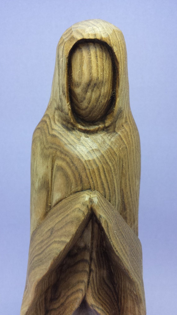 Hand carved stylized wood carving of woman praying hand made decorative religious gift for him gift for her OOAK butternut wood carving