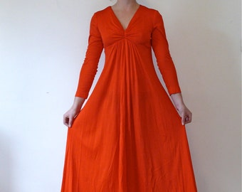 Vintage 70s Bright Red Maxi Dress, Empire Waist Dress, Long Sleeve Maxi Dress, Red Orange