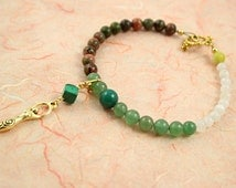 Moon Cycle Tracking Bracelet - Pick charm, length, ovulation day - Green Forest - Aventurine,moonstone,unakite,TTC,fertility,menstrual cycle