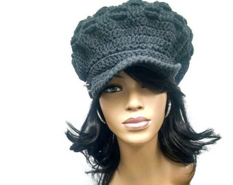 MADE TO ORDER Charcoal Grey/ Gray Newsboy Hat/Beret/Beanie with brim/strap/silver buckle and free matching crochet earrings (not pictured)