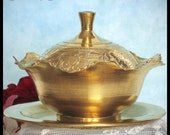 Covered Brass Bowl and Tray / Three Piece Set / Engraved / Home Décor / Etched Floral Design / Vintage 1940s / Collectible