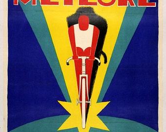 Cycles Meteore Art Deco Vintage Bicycle Poster