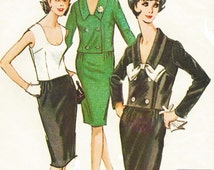 60s McCalls Sewing Pattern 7515 Womens Suit and Top Double Breasted Jacket, Slim Skirt & Sleeveless Top Size 16 Bust 36