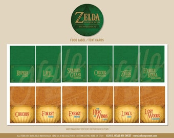 Zelda Party Labels - INSTANT DOWNLOAD - Birthday Decorations - Tent Cards, Buffet Labels, Food Tags