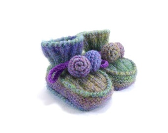 Hand Knitted Baby Booties - Blue, Green and Purple, 9 - 12 months