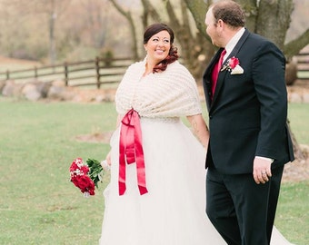 Winter Wedding/Wedding Shawl/Christmas Wedding/Wedding Shrug/Wedding Cape/Valentine Wedding/Bridal Bolero/Bridal Shawl/Ivory Shawl/Wrap/Cape