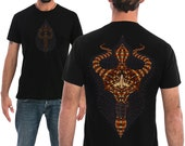 Mens T-shirt  With Trishul Silk Screen Print In Black Or Brown, Psychedelic Shirt, Gift For Him, Goa Psy Clothing By SOL