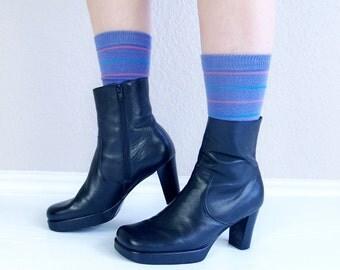 vintage 90s PLATFORM black leather ANKLE BOOTS goth 9 club kid raver grunge chunky