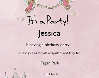 Fairy Birthday Invitation Printable Personalized