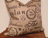 Black Script Decorative Pillow Cover in Tea House Fabric