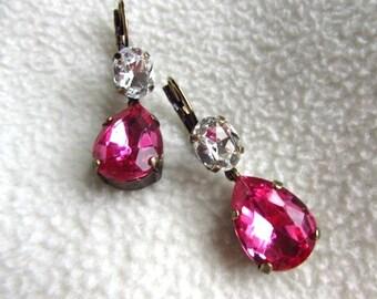 Pink Crystal Earrings, Marie Antoinette Jewelry, Pink Rhinestone Earring, Pink White Crystal, Pink Bridesmaid Earrings, Pink Wedding Bride