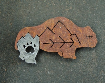 Rusty Bear Wall Sculpture, Metal Bear Wall Hanging, Southwestern Bear Wall Art, Recycled Metal Sculpture, Rusty Steel Bear