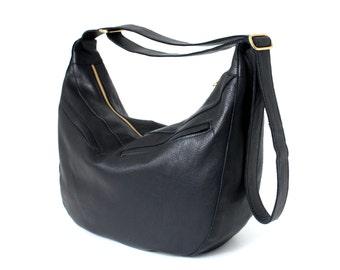 Big Hobo Bag Genuine Leather Black with Cotton Lining, removable leather key strap, shoulder bag, crossbody bag