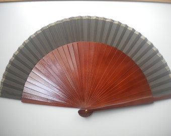 Brown Man Fan Wood With Gold Edge Folding Hand Fan SIZE OPTIONS Choose in Listing