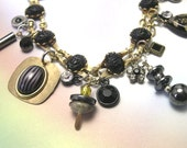 Handmade Black Charm Scarab Bracelet, scarab charm bracelet, black charm bracelet, vintage charms, vintage bracelet, one of a kind, ooak