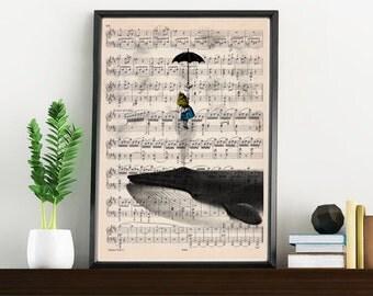 Summer Sale Alice in wonderland print on music sheet- Wall decor art print, Alice in wonderlad with whale ALW026MSL