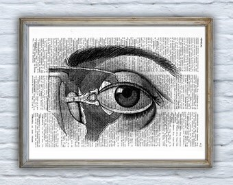 Summer Sale Upcycled Dictionary Page Upcycled Book Art Upcycled Art Print Upcycled Book Print Vintage Art Print Eye Anatomy SKA024