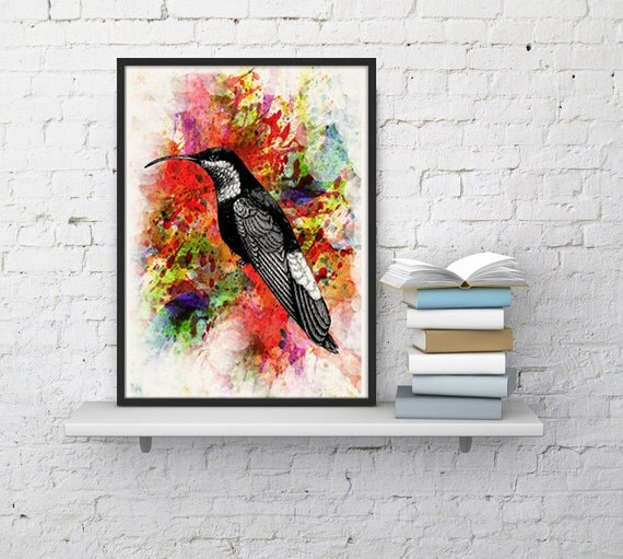 Spring Sale Watercolor Hummingbird II  - White paper bird collage  print  - Love birds art WAN071