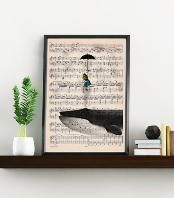 Alice in wonderland print on music sheet- Wall decor art print, Alice in wonderlad with whale ALW026MSLb