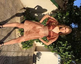 Bohemian dress, boho Coachella style dress, silk tunic dress in earth colors. Luxury upcycled SILK batwing dress in beige.