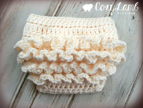 Free Crochet Pattern Diaper Cover With Ruffles : Crochet Pattern for Ruffle Bum Baby Diaper Cover 3 sizes