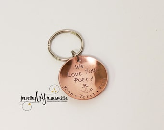 Personalized Keychain - Personalized Key Chain - Mens - Grandpa - Dad - Father - Grandma - Mother - 7th Anniversary Gift - Uncle - Guys