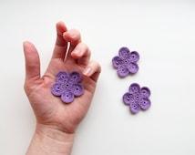 Crochet Flower Appliques, GIANT Flower, Dreamy Purple Large Crochet Flower Motif, PALM SIZED Bloom, Set of 3