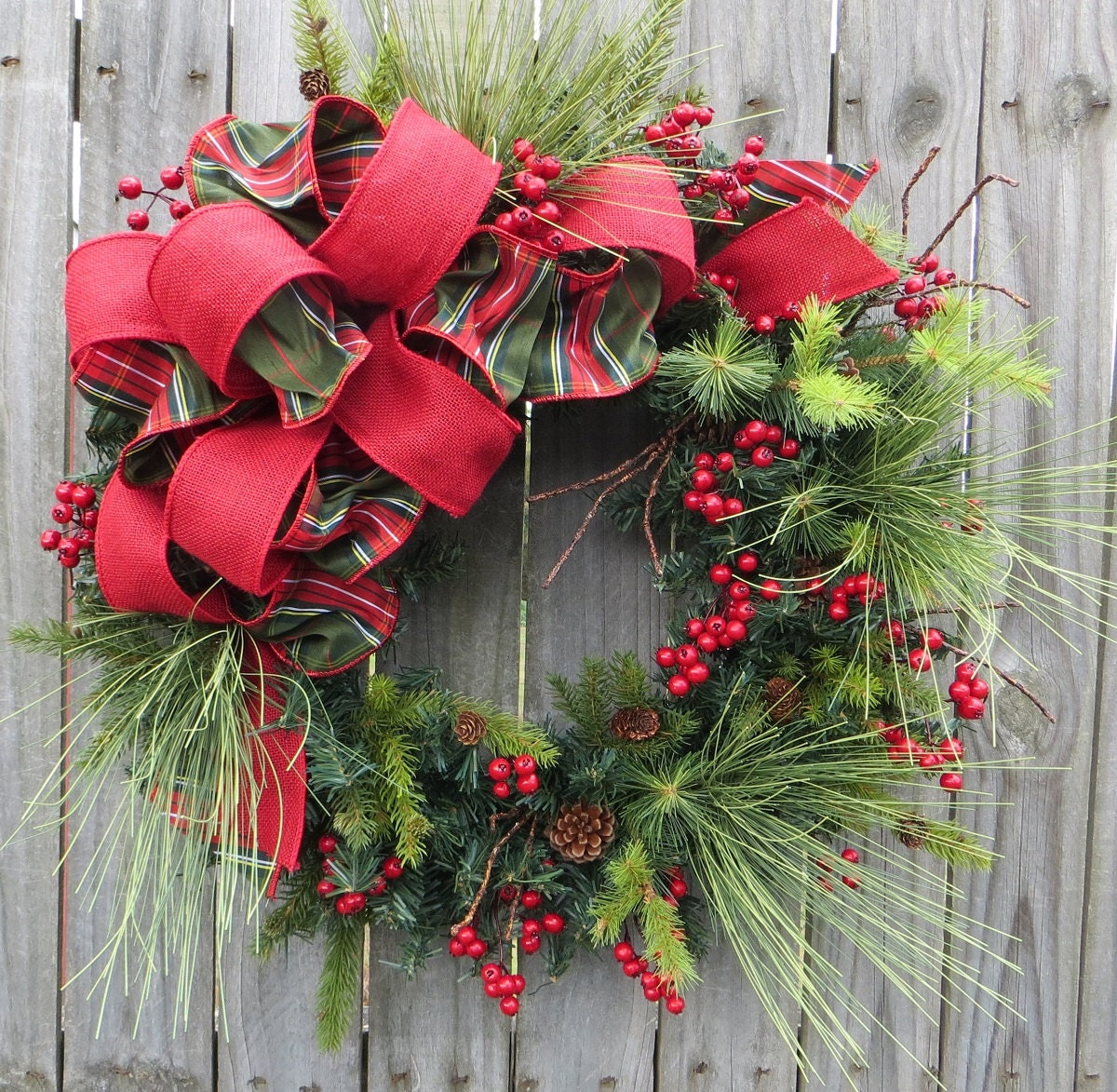 Christmas Wreath Holiday Wreath Burlap Berry Wreath Greenery