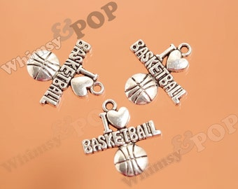 Sports I Love Basketball Tibetan Silver Charms, Basketball Charms, Sport Charm, 22mm x 21mm (3-6I)