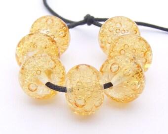 Glass lampwork bubble beads in yellow - handmade set of 7