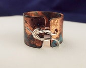 Memory Ring Copper Cuff Sterling Silver Wire Remember Forgetful Boho Metal Corset Festival Jewelry Bohemian Hippie Metalwork Hand Forged