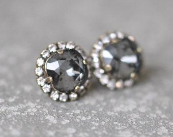Gray Rhinestone Stud Earrings Swarovski Crystal Studs Rhinestone Grey Diamond Pendant Necklace Mashugana
