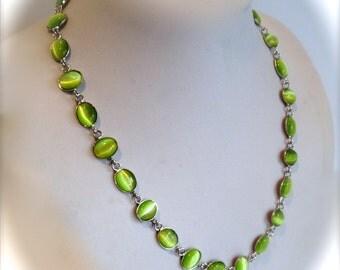 Luminous Green Cats Eye Cabochon Necklace Green Stone Necklace Multi Stone Necklace