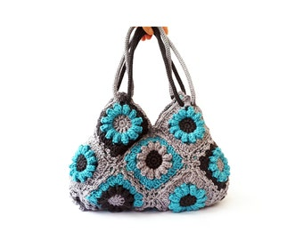 Turquoise flower crochet handbag, floral bag, shoulder bag, crochet flower purse, spring flower purse, crochet handbag, boho tote crochet