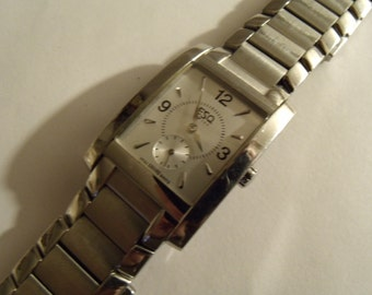 Watch Mens ESQ Movado Stainless Steel Bracelet Rectangular