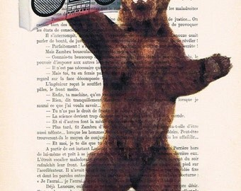 Bear with boombox,  illustration beautifully upcycled vintage page book art print, bear print, bear poster, bear painting