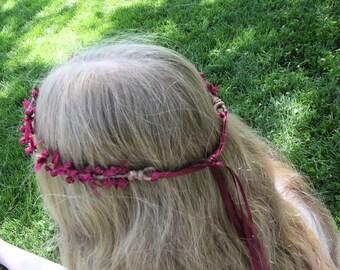 Marsala Flower Head Garland with Vintage Ribbon Roses