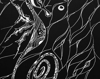 Noir Sea Dragon-Original pen and ink drawing on coal black paper-sea horse art-fish art-art fish-black and white-coastal-modern-line drawing