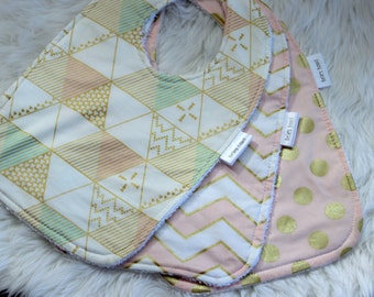 set of three baby girl bibs.Terry toweling.Pink and gold bibs.Baby girls bibs.Gold dot,gold chevron,soft pink.Pink and gold bibs.Baby Bibs.