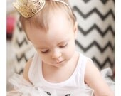 READY to SHIP ||Chloe || newborn or 1st birthday vintage lace crown headband|| gold ||photography prop HEADBAND option